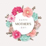 Fototapeta Kwiaty - Happy Mother's Day card with beautiful blossom flowers