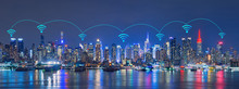 Wifi Network Internet And Connection Technology Concept Of Skyline Of New York City, Skyscrapers, Downtown, USA