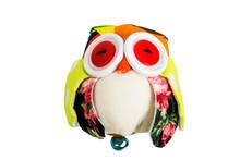 Owl Fabric Doll  Handmade On White Background