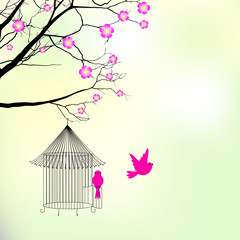 Template with with  birdcage and birds - vector illustration
