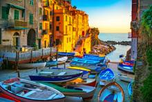 Riomaggiore Village Street, Boats And Sea. Cinque Terre, Ligury, Italy.