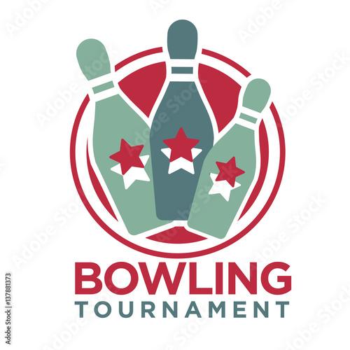 Staande foto Kunstmatig Bowling tournament poster or logo vector template