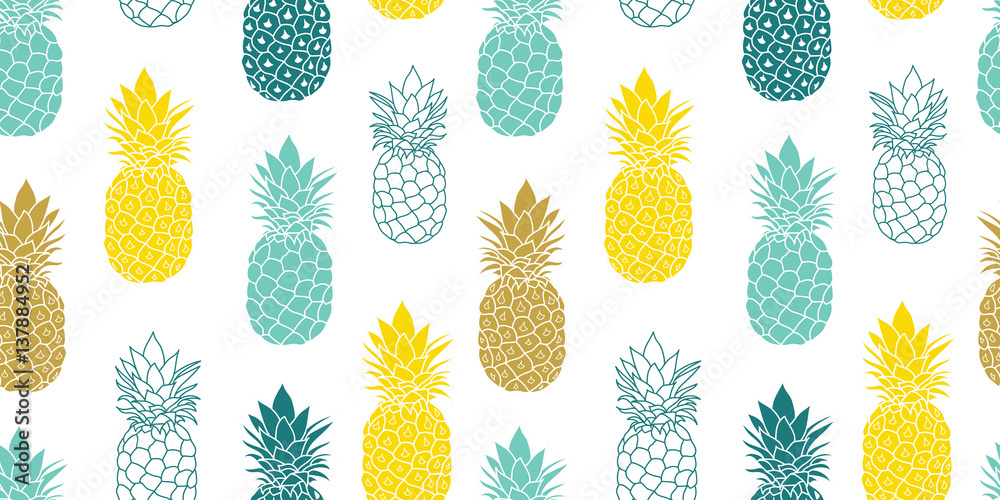 Fototapeta Fresh Blue Yellow Pineapples Vector Repeat Seamless Pattrern in Grey and Yellow Colors. Great for fabric, packaging, wallpaper, invitations.