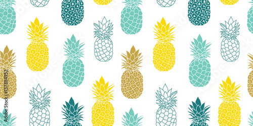 Photo Fresh Blue Yellow Pineapples Vector Repeat Seamless Pattrern in Grey and Yellow Colors