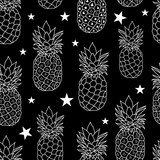 Balck and White Pineapples Stars Vector Repeat Geometric Seamless Pattrern. great for fabric, packaging, wallpaper, invitations. - 137885146