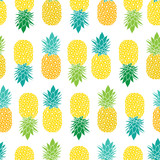 Fresh Blue Yellow Green Pineapples Vector Repeat Seamless Pattrern in Grey and Yellow Colors. Great for fabric, packaging, wallpaper, invitations. - 137885173