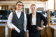 A business professional couple male female team modern stylish and successful