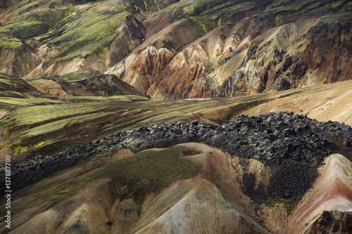 Solidified lava, Landmannalaugar, Rhiolite / Rhyolite mountains, Iceland, August 2008