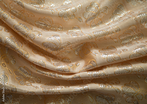 Fotografía  fabric brocade, peach-colored, rectangular background