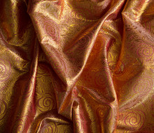 Fabric Brocade, Golden Orange Color, Rectangular Background