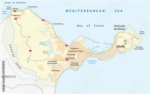 Road map of the Spanish enclave ceuta on the African continent