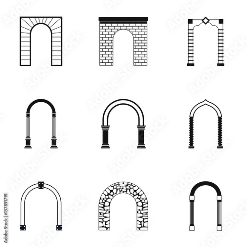 Photo Archway icons set, simple style