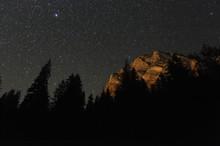 Mountains At Night, Cheile Bicazului-Hasmas National Park, Carpathian Mountains, Transylvania, Romania, October 2008