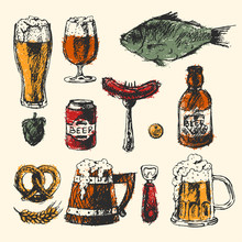 Craft Beer And Pub Sketch Vector Illustration.