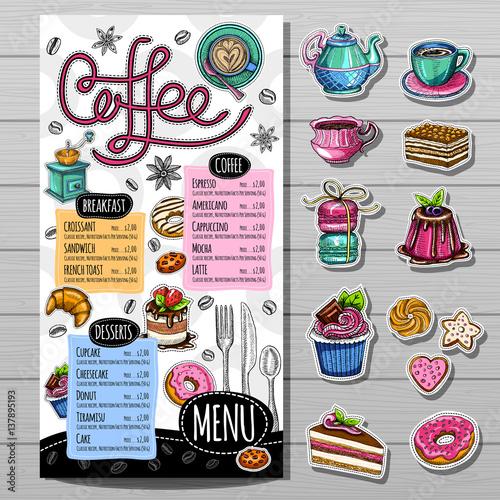 Coffee Restaurant Brochure Vector Coffee Shop Menu Design Sketch