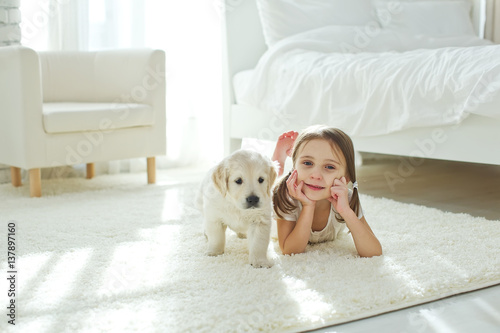 Child and dog Wallpaper Mural