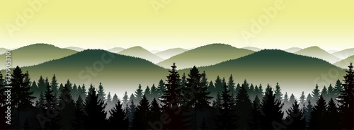 Poster de jardin Jaune de seuffre Seamless landscape. Panorama of mountains. A fog. Green and yellow tones.