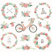 Retro Flower Wreath Bicycles