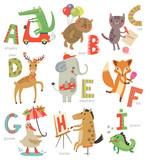 Fototapeta Fototapety na ścianę do pokoju dziecięcego - Zoo Alphabet for children. Set of letters and illustrations. Cute animals