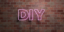 DIY - Fluorescent Neon Tube Sign On Brickwork - Front View - 3D Rendered Royalty Free Stock Picture. Can Be Used For Online Banner Ads And Direct Mailers..
