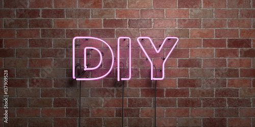 Cuadros en Lienzo DIY - fluorescent Neon tube Sign on brickwork - Front view - 3D rendered royalty free stock picture