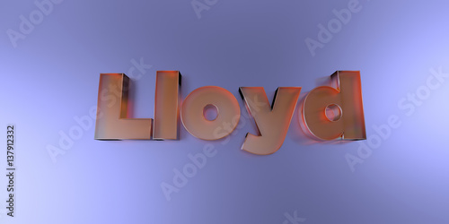 Lloyd - colorful glass text on vibrant background - 3D rendered royalty free stock image Canvas Print