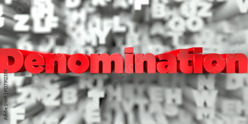 Fotografía  Denomination -  Red text on typography background - 3D rendered royalty free stock image