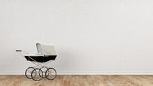 White Stroller In Front Of Concrete Wall
