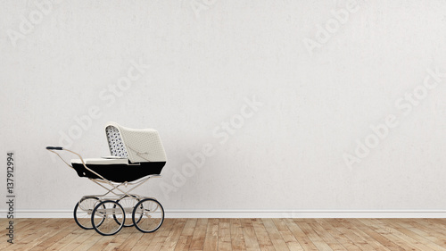 Photo White stroller in front of concrete wall