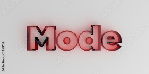 Fotografie, Obraz  Mode - Red glass text on white background - 3D rendered royalty free stock image