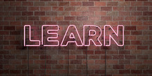 LEARN - Fluorescent Neon Tube Sign On Brickwork - Front View - 3D Rendered Royalty Free Stock Picture. Can Be Used For Online Banner Ads And Direct Mailers..