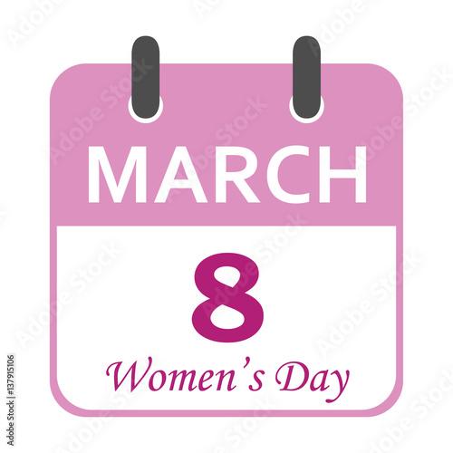 Calendario Vector Blanco.Icono Plano Calendario Women S Day En Fondo Blanco Buy