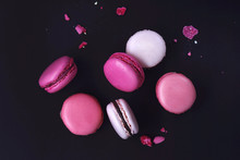 Macaroons On Dark Background, ...