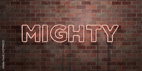 MIGHTY - fluorescent Neon tube Sign on brickwork - Front view - 3D rendered royalty free stock picture Canvas Print