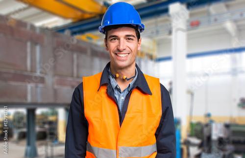Fotografie, Obraz  Smiling mechanical worker portrait