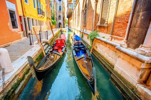 Fototapeta Gondolas in the channel. Venice, Italy.