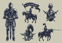 Set Of Medieval Knights, Mounted Knights.