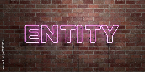 Foto ENTITY - fluorescent Neon tube Sign on brickwork - Front view - 3D rendered royalty free stock picture
