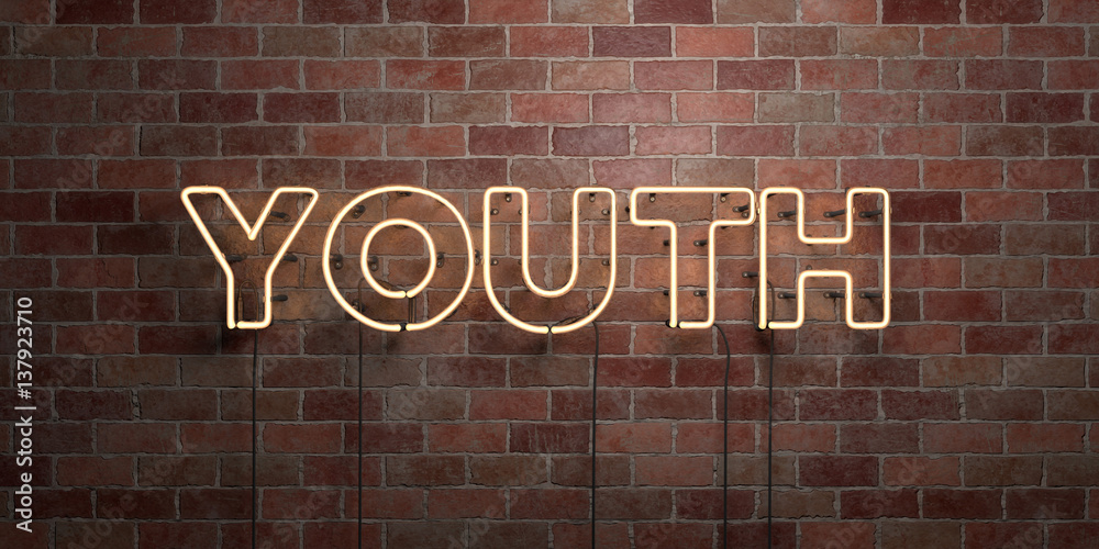 Fototapeta YOUTH - fluorescent Neon tube Sign on brickwork - Front view - 3D rendered royalty free stock picture. Can be used for online banner ads and direct mailers..
