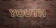 YOUTH - fluorescent Neon tube Sign on brickwork - Front view - 3D rendered royalty free stock picture. Can be used for online banner ads and direct mailers..