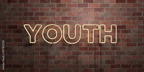 Photo  YOUTH - fluorescent Neon tube Sign on brickwork - Front view - 3D rendered royalty free stock picture