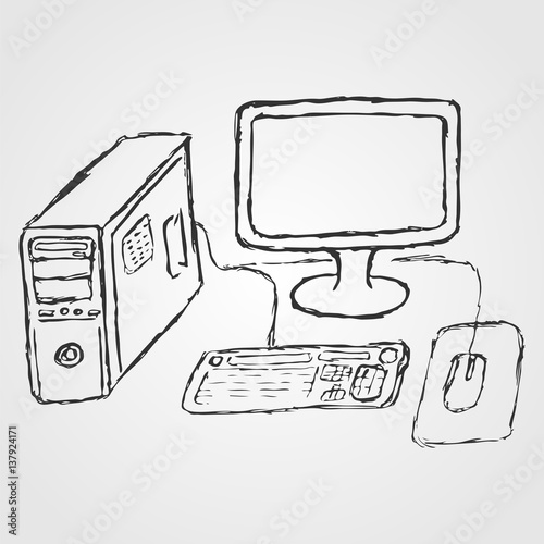 Computer Hand Drawn Sketch System Unit Liquid Crystal Monitor Keyboard Mouse Vector Illustration For Companies Related To Computer Services Buy This Stock Vector And Explore Similar Vectors At Adobe Stock Adobe