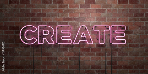 Fotografija  CREATE - fluorescent Neon tube Sign on brickwork - Front view - 3D rendered royalty free stock picture