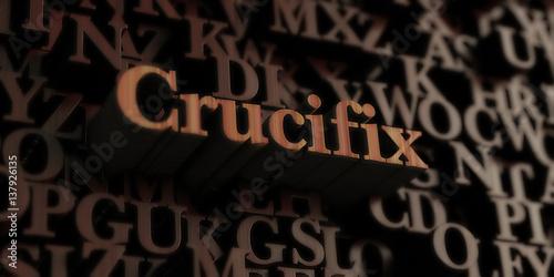 Fotografie, Obraz  Crucifix - Wooden 3D rendered letters/message