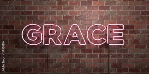 Fotografie, Obraz  GRACE - fluorescent Neon tube Sign on brickwork - Front view - 3D rendered royalty free stock picture