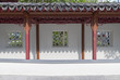 Scenery of Chinese garden with window and corridor
