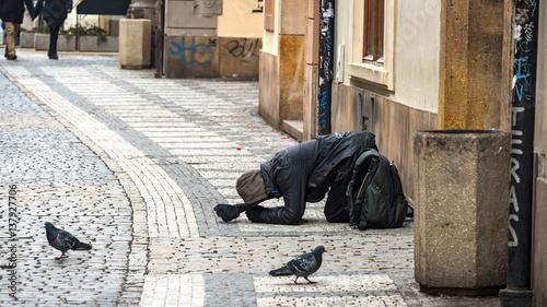 Street Beggar Wallpaper Mural