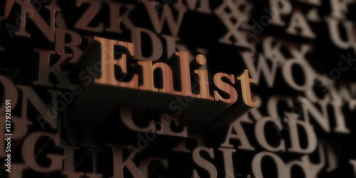 Photo  Enlist - Wooden 3D rendered letters/message