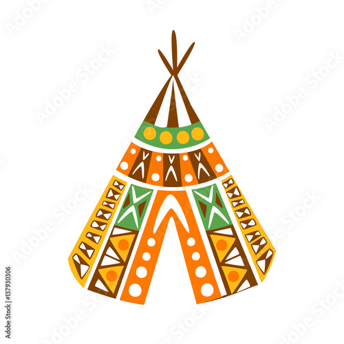 Fotografia Wigwam Hut With Decorative Pattern Textile, Native Indian Culture Inspired Boho