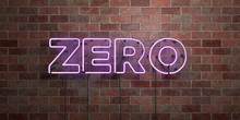 ZERO - Fluorescent Neon Tube Sign On Brickwork - Front View - 3D Rendered Royalty Free Stock Picture. Can Be Used For Online Banner Ads And Direct Mailers..